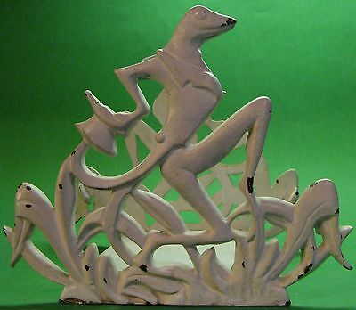 Vintage Cast Iron Deco Frog / Toad Fishbowl Stand / Holder / Bookends