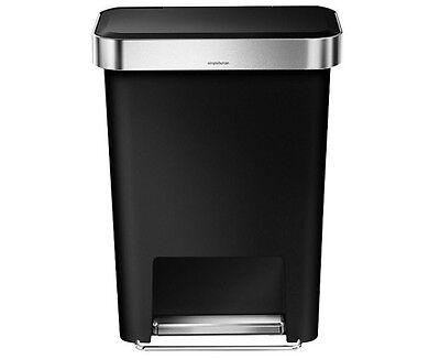 Simplehuman 45L Rectangular Pedal Bin With Liner Pocket Bin, Black NEW