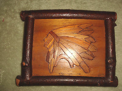 Antique Primitive Rare Wood Marquetry Native American Chief Tramp Art Twig Frame