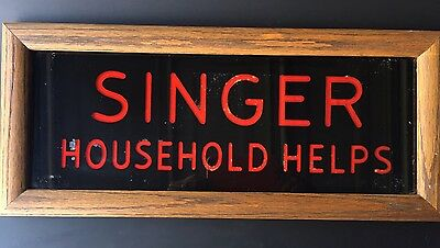 "Rare Antique Store Glass Sign ""Singer Household Helps"""