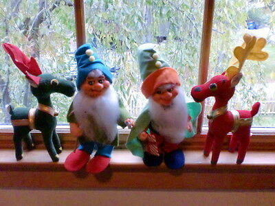Vintage Christmas Elves or Gnomes and Dream Pets Christmas Reindeer