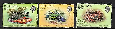 "BELIZE STAMPS-Marine life overprinted ""Inauguration of New Gov."", set , 1985 (#)"