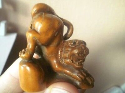 Carved wood netsuke tiger with back up growling, Antique / vintage style figure