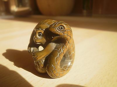Hand carved wood netsuke Snake caught monkey, antique style collectable figure