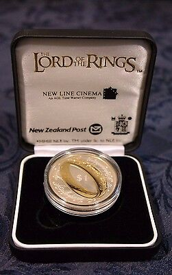 2003  Lord Of The Rings  $1.00  Silver  Proof  Coin, Coa,  Display Case One Ring
