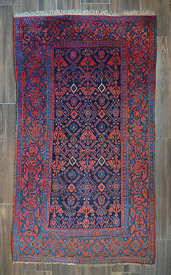 "SEMI ANTIQUE PERSIAN BIDJAR RUG - 4' x 6' 9"" heriz-merchant"