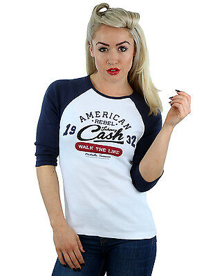 Johnny Cash Women's Walk The Line 3/4 Sleeve Baseball Shirt