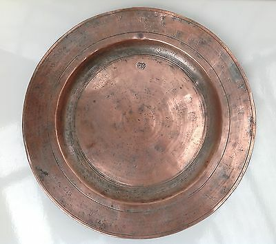 Antique Ottoman Turkish Copper Dish Signed Islamic Middle Eastern