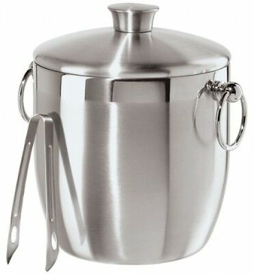 Stainless Steel Double Walled Ice Wine Bucket Container Server w/ Tongs 3 Liters