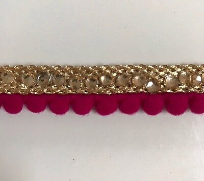 ATTRACTIVE INDIAN CERESE POM POM LACE with GOLD BRAID &CRYSTAL TRIM/LACE-One MTR
