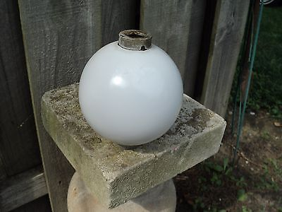 Antique Lightning Rod Ball with caps White Glass