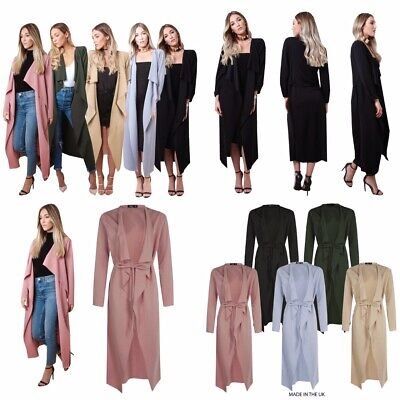 Womens Ladies Maxi Midi Long Sleeved Belted Waterfall Duster Jacket Dress Coat