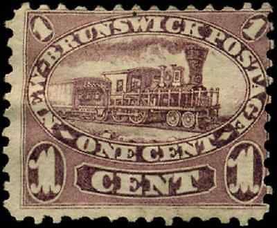 New Brunswick #6 used F 1860 Cents Issue 1c red lilac Locomotive CV $20.00