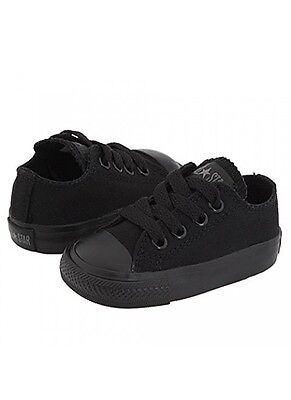 Converse All Star Chuck OX 714786F Canvas Mono Black Kids Baby Toddler Shoes