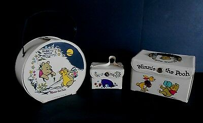 1965 Rare Winnie The Pooh Vinyl Lunchbox Doll Case set of 3 Canadian issue Wow!!