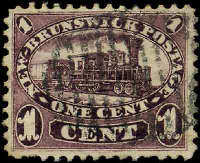 New Brunswick #6 used VF 1860 First Cents 1c red lilac Locomotive CV $50.00