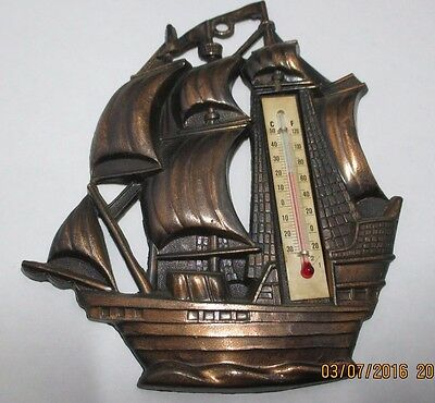 VINTAGE SHIP with THERMOMETER --WALL PLAQUE---BRASS--