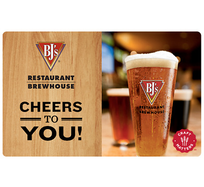 BJ's Restaurants Gift Card - $25 $50 or $100 - Email delivery