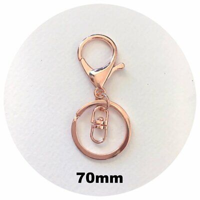 10x ROSE GOLD lobster key ring LARGE clasp keychain rings DIY silicone keyring