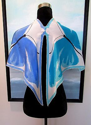 Rare VTG 60's VERA Silk Scarf Blue Butterfly Cut Out