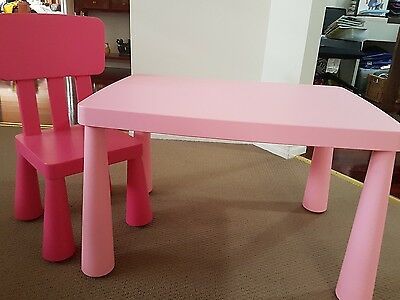 IKEA MAMMUT children's table and chair pink