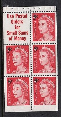 1967 Australian Decimal stamps -5c on 4c QEII Booklet Pane MNH pane of 5 stamps