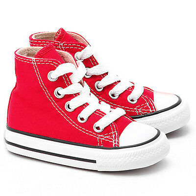Converse All Star Chuck HI 7J232 Canvas Red Kids Baby Toddler Shoes