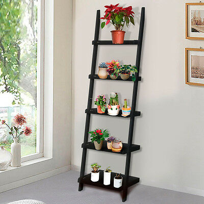 Black 5 Tier Leaning Ladder Shelf Bookshelf Bookcase Storage Shelves Unit