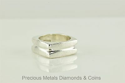 """Sterling Silver Heavy 8.5mm Grooved Squared """"Nut"""" Style Band Ring Mexico Sz: 7"""