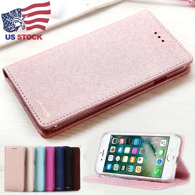 Luxury Wallet Silk Leather Flip Case SLIM Stand Cover For iPhone XS X 8 7 6 Plus