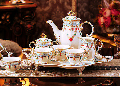TSP15 Decorative Wedding Gifts Fine Bone China Coffee/Tea Teapot Cups Set 8 Pcs