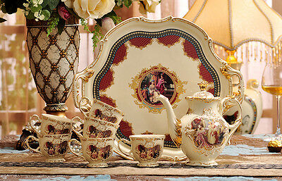 TSP17 Decorative Wedding Gifts Bone China Coffee/Tea Teapot Cup Saucer Set 8 Pcs