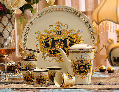 TSP23 Decorative Wedding Gifts Bone China Coffee/Tea Teapot Cup Saucer Set 8 Pcs
