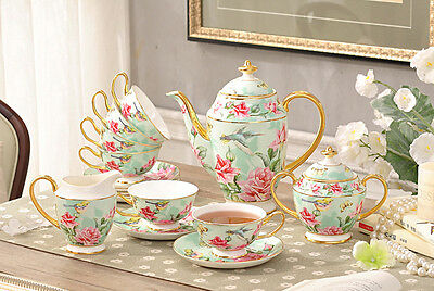 TSP27 Decorative Wedding Gifts Fine Bone China Coffee/Tea Teapot Cups Set 15 Pcs