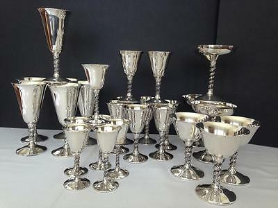 Huge Vintage FB Roger Silverplate Spain Mixed Lot Wine Glass Goblet 26 Pc