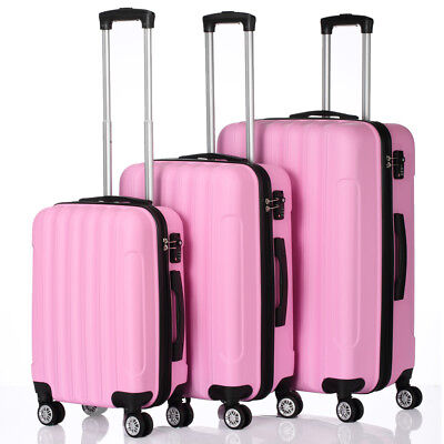 Pink 3PCS Travel Luggage Set Bag ABS Trolley Hard Shell Suitcase w/TSA lock Cute