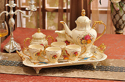 TSP33 Decorative Wedding Gifts Bone China Coffee/Tea Teapot Cup Saucer Set 8 Pcs