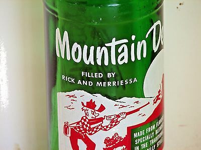 """Mountain Dew hillbilly ACL soda pop bottle, 10oz; """"FILLED BY RICK AND MERRIESSA"""""""
