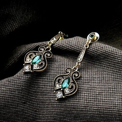 Stunning Retro Vintage Green Clear Crystal Dangle Drop Antique Gold Stud Earring