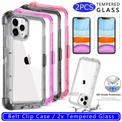 For iPhone 6/6S 7 8 PLUS Phone Case Cover With Kickstand Belt Clip Holster Clear