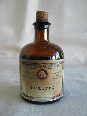 Antique~APOTHECARY~Fritzsche Brothers,Inc~AMBER~Eugenol~U.S.P.XII~BOTTLE~Content
