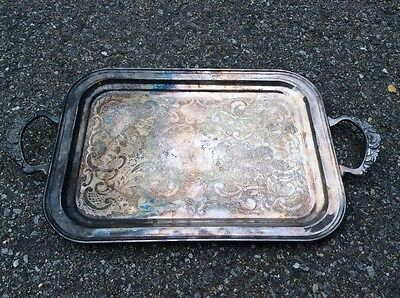 Large Vintage Silver Plate Etched Serving Tray With Detailed Handles