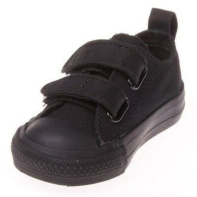 Converse All Star Chuck OX 7V606 Strap Canvas Black Kids Baby Toddler Shoes