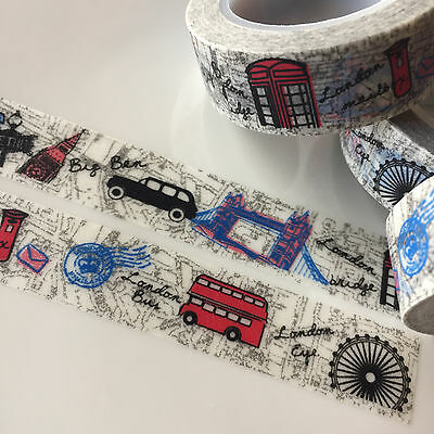 Washi Tape London Calling Travel Big Ben 15Mm X 5Mtrs Craft Wrap Plan Scrap