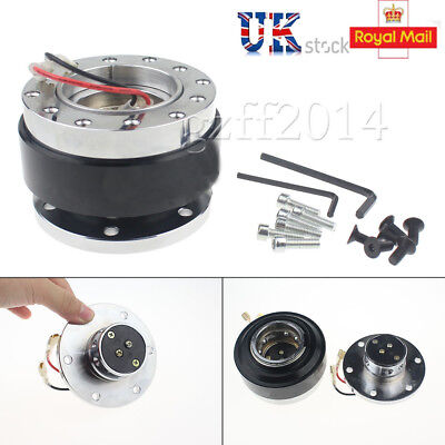 Car Steering Wheel Quick Release Hub Adapter Snap Off Boss Kit Black Universal