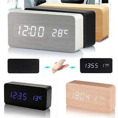 US STOCK Modern Wooden Wood USB/AAA Digital LED Alarm Clock Calendar Thermometer