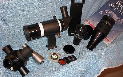 """Large lot 0.965,1-1/4, 2"""" eyepieces and accessories"""