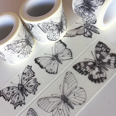 Washi Tape Wide Butterfiles On Black 30Mm X 5Mtrs Craft Wrap Plan Scrap