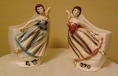 Rare Vintage {Ucagco?) pair of art deco sculptural vases with ballerinas