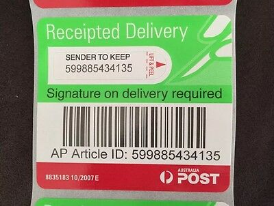 500 Auspost Signature On Delivery Labels Receipted Registered Bargain Tracking